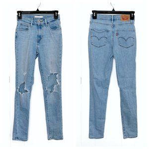 Levi's 721 High Rise Skinny Destroyed Jeans Size 25